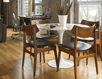 Flooring & Kitchen Design Center carries quality long-lasting hardwood flooring for all of your dining room projects